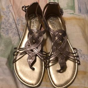 Seychelles pewter leather sandals size 8 brand new